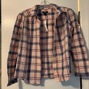 Girls Pink and Blue Plaid Button Up